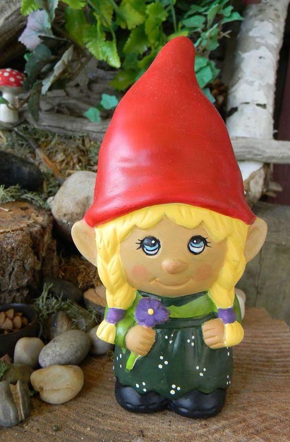 Garden Gnomes On Sale: Garden Gnome Ceramic Girl Lady Miss Gnomer Lawn, Garden Or