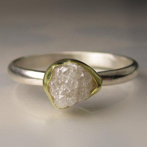 White Raw Diamond Engagement Ring - 18k Gold and Palladium Sterling Silver - 11 Main