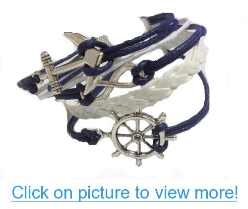 Vintage Blue Anchor Love Infinity Pendants Bracelets Diy Leather Unique Jewelry