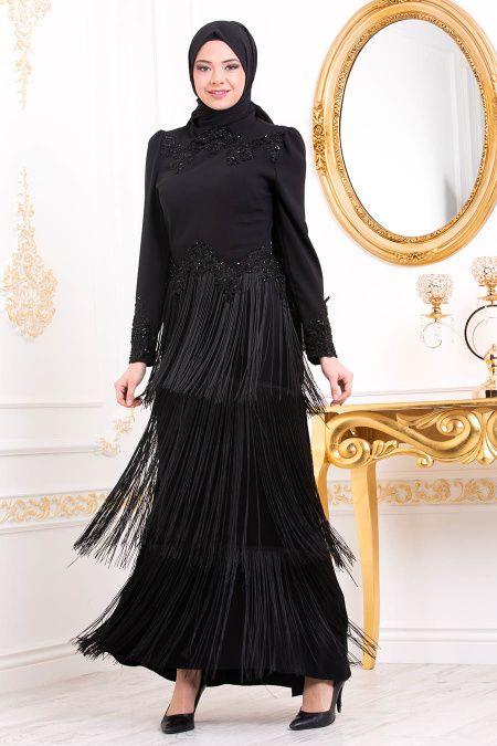Tesettur Island Etekleri Puskullu Abiye Elbise Modelleri Moda