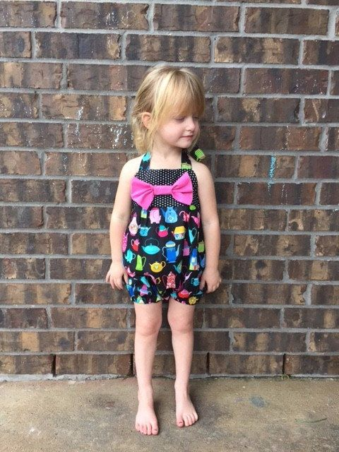 Toddler Bubble Romper  Summer Black and Pink by EllaLeneDesigns