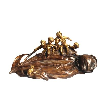 """Art Nouveau Ink Well by Charles Korschann  6""""H x 14""""L   Charles Korschann was considered one of the leading proponents of the French Art Nouveau movement. His Art Nouveau figural sculpture, sculptural lighting devices and desk pieces are highly collectible. This charming inkwell/pentray is patinated with gilt children and a frog."""