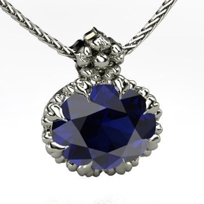 Oval Sapphire Platinum Necklace