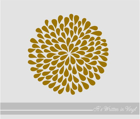 Metallic Gold  Mum Flower 9 in.- Vinyl Lettering wall words quotes graphics decals Art Home decor itswritteninvinyl.  via Etsy.