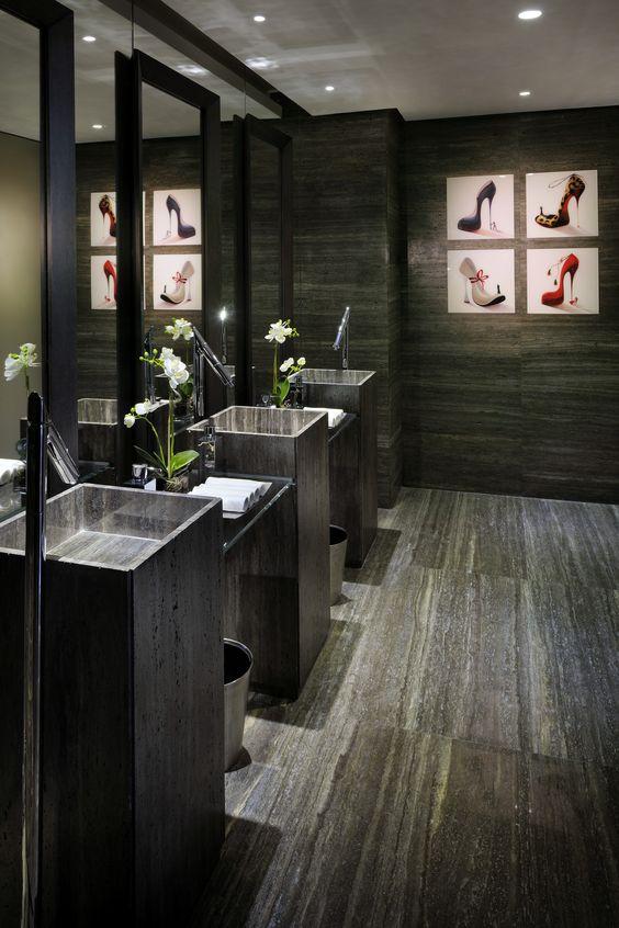 Ladies toilet in restaurant interiors bathrooms