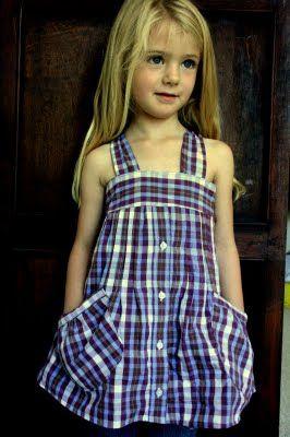 The Shirt Jumper- Men's Shirt to Girl's Dress Refashion Tutorial