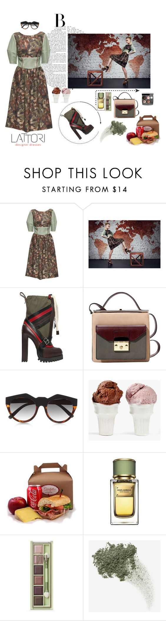 """""""Floral Midi Dress with Perforated Faux Leather"""" by lattori ❤ liked on Polyvore featuring Lattori, Dsquared2, Le Specs, Chanel, Sin, Dolce&Gabbana, Pixi, Bare Escentuals, dress and dresses"""