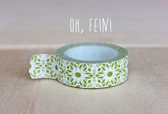 Washi Tape / Masking Tape Spitze Grün Muttertag von OhFein auf DaWanda.com