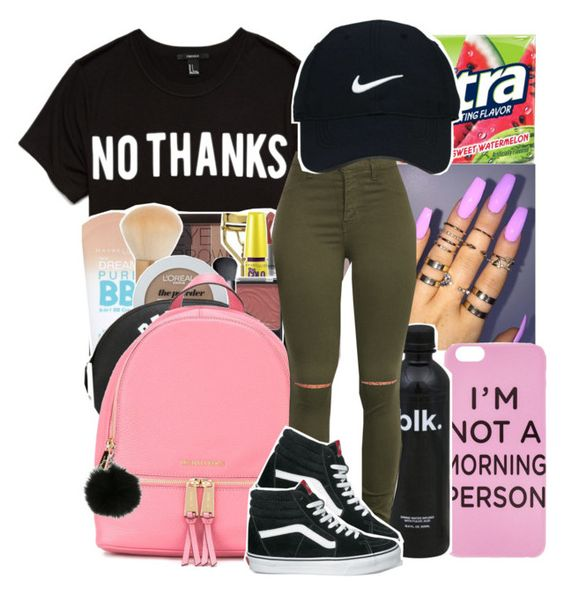 """""""I'm at work so tired rn."""" by youngfashionaddict ❤ liked on Polyvore featuring Forever 21, NARS Cosmetics, MICHAEL Michael Kors, Nike Golf and Vans"""