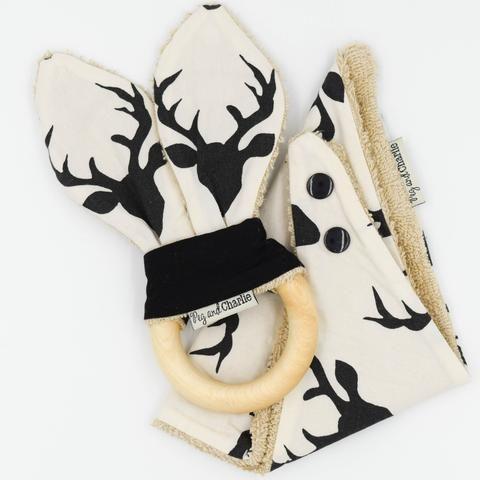 Gift Set - Black Deer Patterned Cotton Bandana Dribble Bib & Wooden Teething Ring