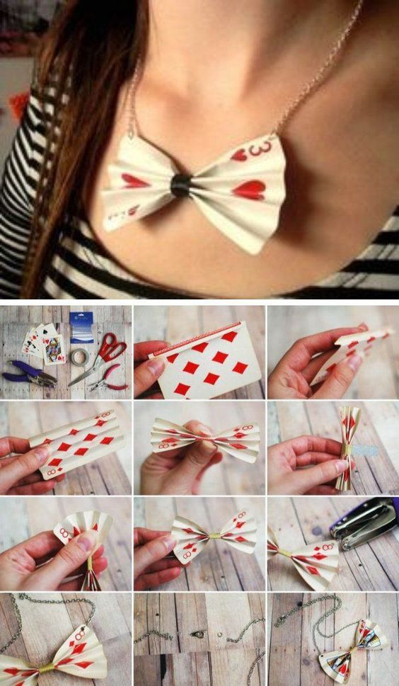 DIY Poker Card Necklace- maybe a hairbow instead. Or use a travel sized card for…