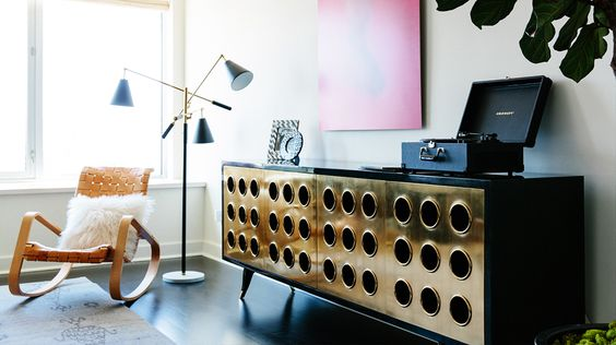 Designer Crush: Catherine Kwong // living rooms // brass and lacquered Jean Prouve cabinet, black Crosely record player, Mongolian fur pillow, adjustable arm floor lamp: Floor Lamps, Decor Ideas, Living Room, Lux Livingroom, Designer Crush, Interior Ideas, Brutalist Furniture