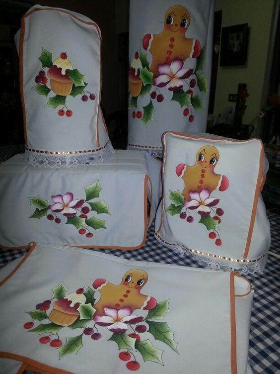 Cobertores de cocina navide os mis trabajos en tecido pintura en tela pinterest - Pintura para cocina ...
