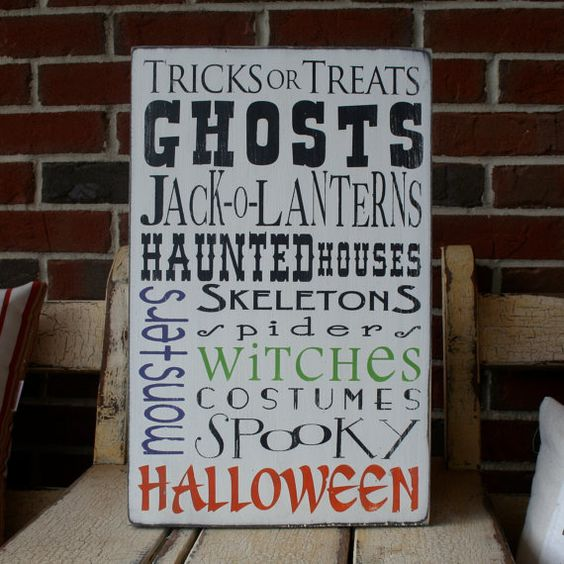Halloween  Typography Word Art Sign by barnowlprimitives