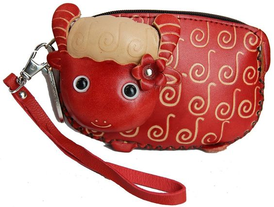Anipals Women's Handmade Leather Lamb Coin Purse-small-red at Amazon Women's Clothing store: