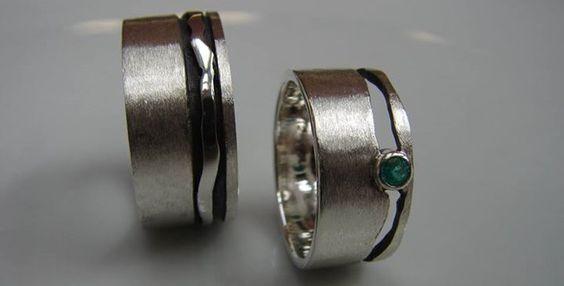KunstGoud, Wedding bands, silver with emerald
