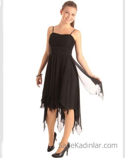 14 Yas Abiye Elbise Siyah Midi Ip Askili Kalp Yaka Puskullu Tul Etekli Elbise Elbiseler The Dress