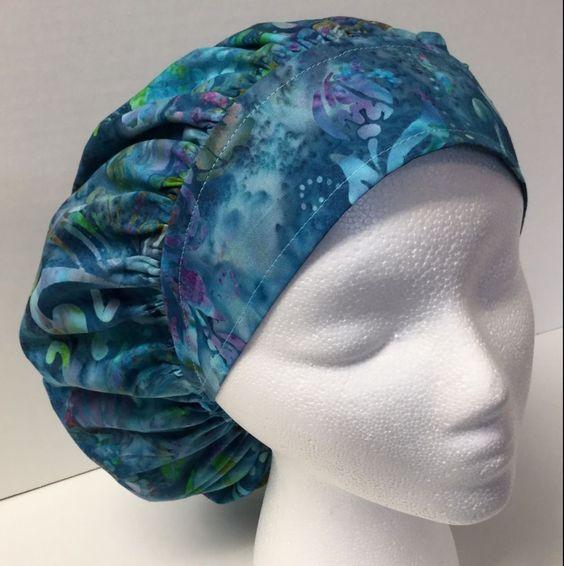 Batik Size: Large Medical Bouffant OR Scrub Cap Surgery Hat #Handmade