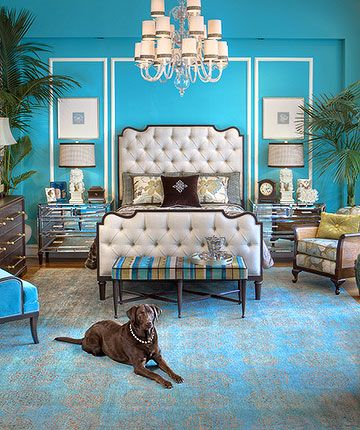 I love the color and the tufted headboard