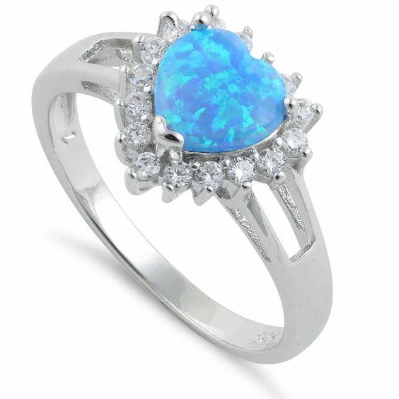 Sterling Silver Heart Blue Lab Opal CZ Ring