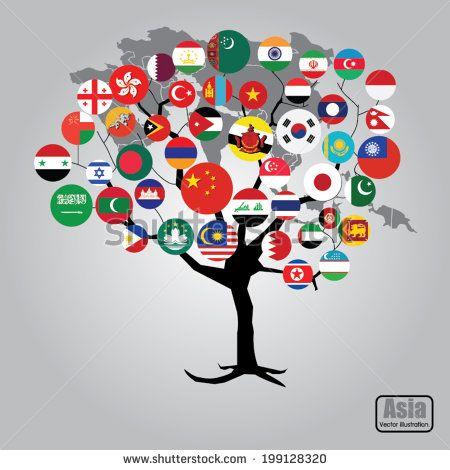 Asia flag tree concept. Vector illustration.