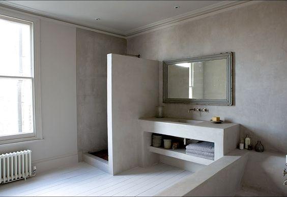 fugenlose Design Böden Fugenloser Putz im Bad Beton Cire Dusche - led leisten küche