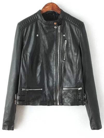Black Stand Collar Zipper Crop PU Jacket 35.19