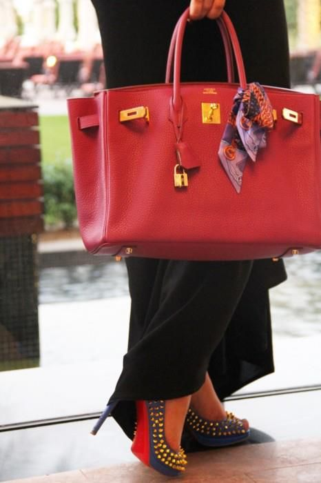 birkin style leather handbag - Emmy DE * Herm��s red Birkin Louboutins   #STREETSTYLE   Pinterest ...