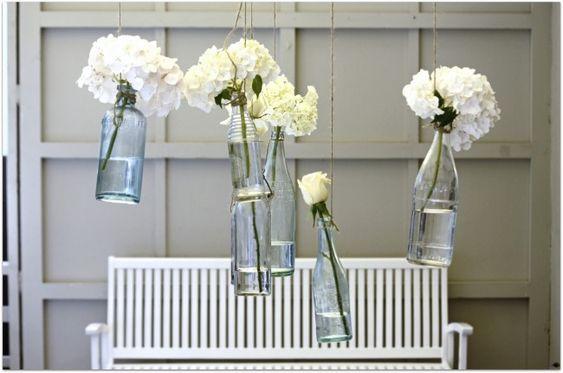 Simple reused bottle vases