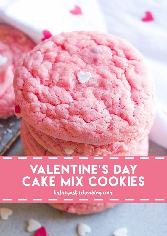 Valentine's Day Cake Mix Cookies - Kathryn's Kitchen