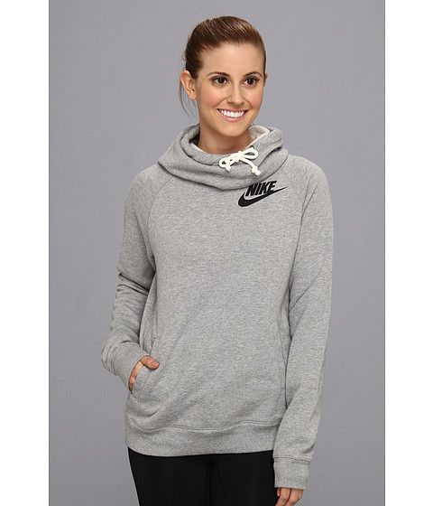 Nike Rally Funnel Neck Hoodie Sail/Heather/Armory Navy - Zappos ...
