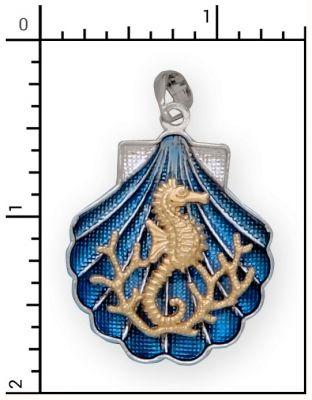 Sterling Silver Shell charm with 14Kt. Seahorse