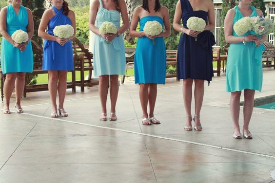 Blue Wrap Twist Dress...Bridesmaids, Honeymoon, Special Occasion, Prom, Cocktail Party, Beach. $99.00, via Etsy.