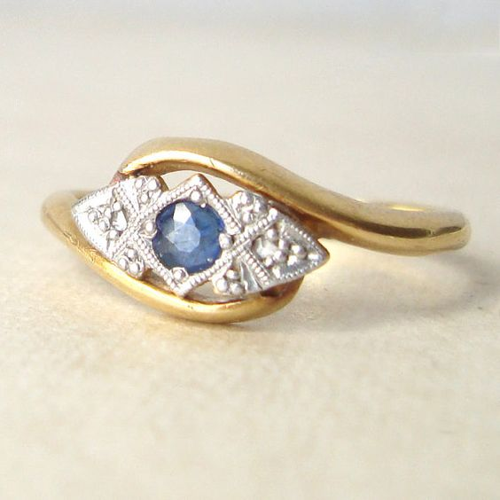 Art Deco 18k Platinum Sapphire and Diamond Ring by luxedeluxe, $438.00