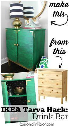 IKEA Tarva Hack: Turn It Into a Drink Bar. Great idea and it looks simple enough to do! via RainonaTinRoof.com