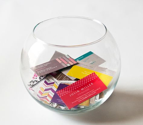 Fish bowl for business cards fish bowl idea for referral for Small fish bowl