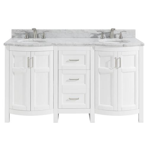 Shop Allen Roth Moravia 60 In White Double Sink Bathroom Vanity