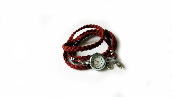 Armbanduhren - Armbanduhr m. Wickelarmband - rot - Wickeluhr - ein Designerstück von Handmadefactory-2 bei DaWanda