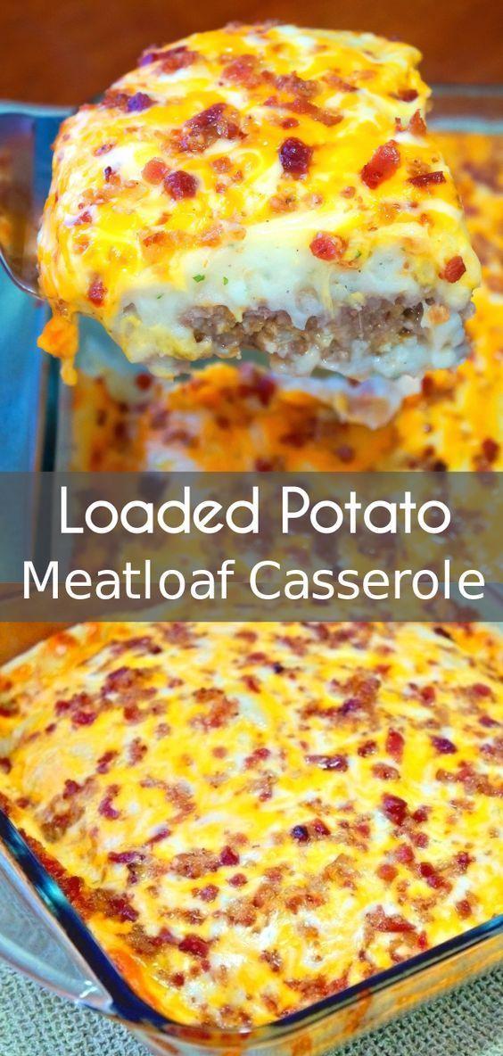 Loaded Potato Meatloaf Casserole  #Beef #BeefRecipes #PotatoCasserole   Kite's Recipes