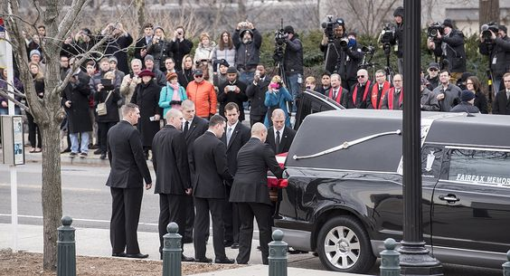 Scalia's casket arrives at the Supreme Court in Washington on Friday. John Shinkle / POLITICO   Read more: http://www.politico.com/gallery/2016/02/photos-from-scalia-funeral-002204#ixzz40dzEWs2m