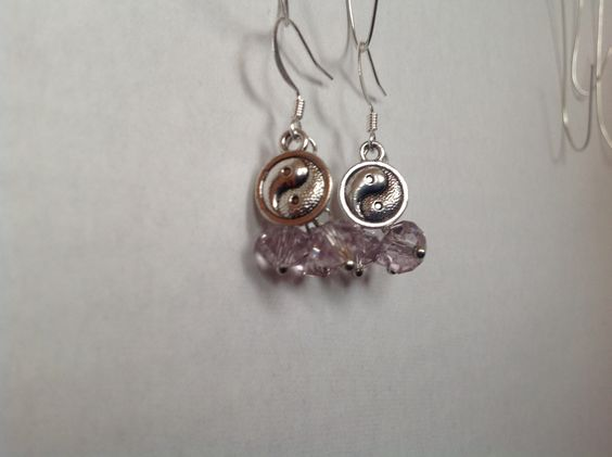 Light purple glass crystal cluster earrings with yin yang charms