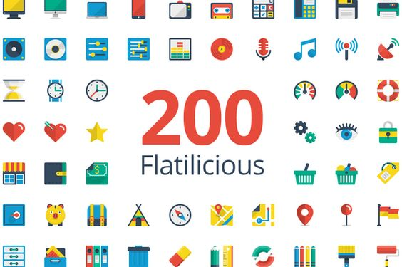 Check out Flatilicious 200 icons by Pixel Bazaar on Creative Market