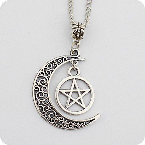 Argent Pentagram et Crescent Moon Pendentif , Bijoux Wiccan, collier pentagramme, Collier Pentagram