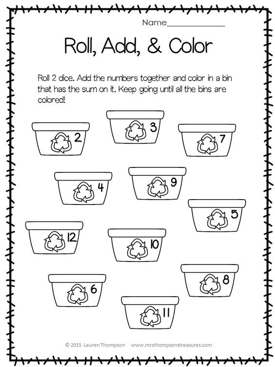FREE - Roll, Add, Color for Earth Day : KindergartenKlub.com : Pinterest : Earth day, Colors and ...