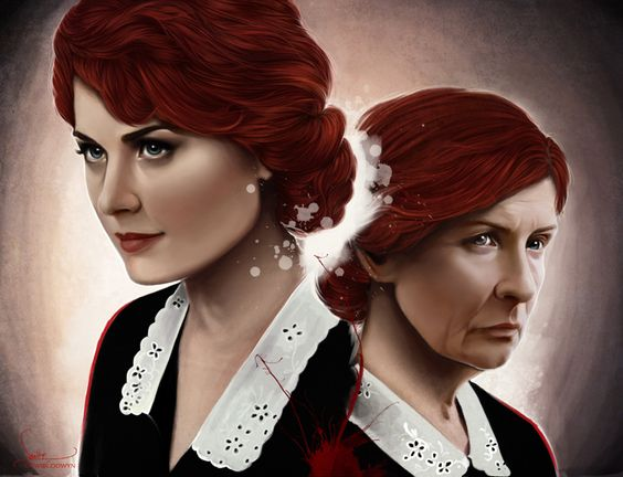 American Horror Story painting of the two Moiras from Season 1, Alexandra Breckenridge and Frances Conroy
