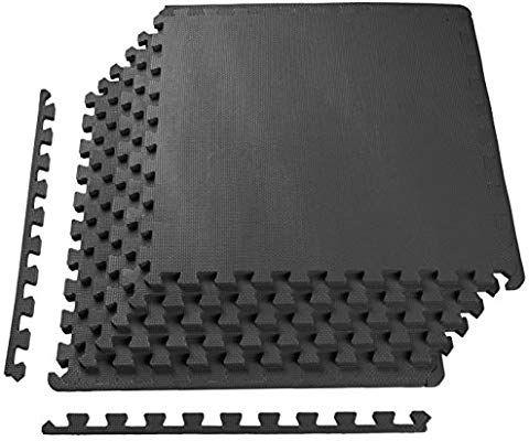 Amazon Com Balancefrom Puzzle Exercise Mat With Eva Foam Interlocking Tiles Black Sports Outdoors Home Gym Flooring Gym Floor Mat Interlocking Tile