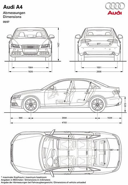 2008 audi a4 blueprint dimensions blueprints pinterest audi a audi and audi a4. Black Bedroom Furniture Sets. Home Design Ideas