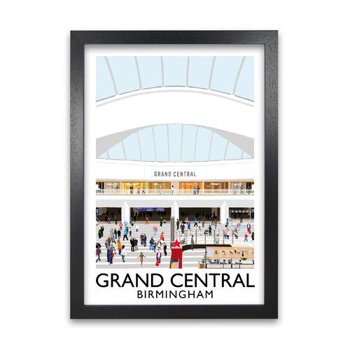 Grand Central Birmingham Framed Graphic Art Print Corrigan Studio Frame Options Black Size 59 4 Cm H X 42 Cm W Art Deco Print Framed Wall Art Wall Art Prints