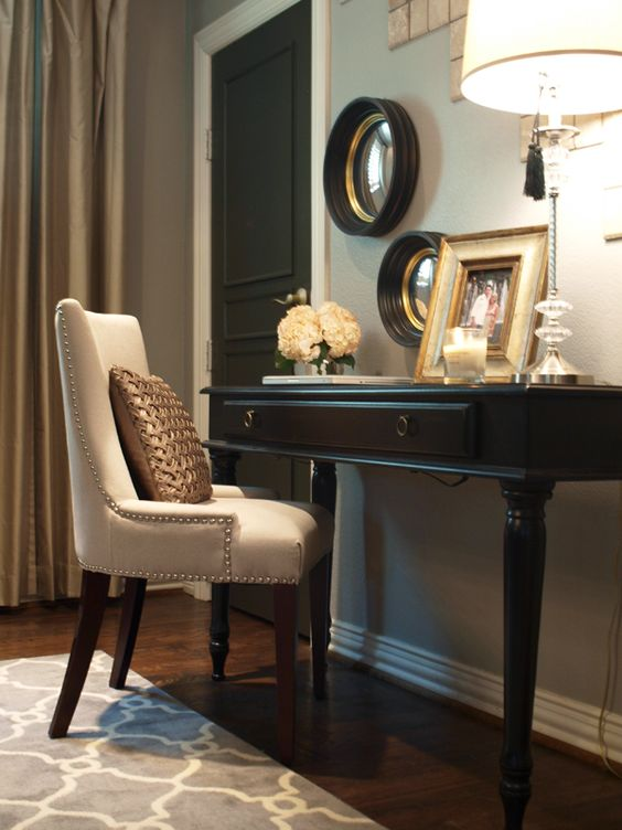 Add molding to a plain door and paint - instant rich!: Desk Area, Guest Room, Living Room