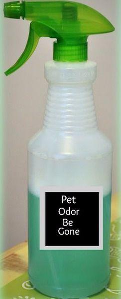Homemade Pet Odor Eliminator Recipe ~ 1 Part Listerine, 2 Parts Water, Peroxide, and Vinegar.